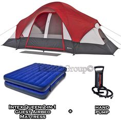 Ozark Trail 8 Person C&ing Tent Instant Cabin Dome Room Family Outdoor SET NEW  sc 1 st  Pinterest & Weatherbuster 9 Person Dome Tent with Two Bonus Queen Airbeds ...