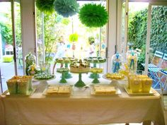 yellow & green dessert bar