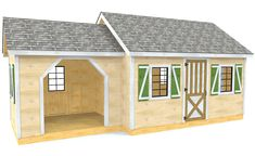 The Lawrence shed plan is a duel gable storage structure with a enclosed, plywood shed on the right, and a open, firewood storage attachment on the left.