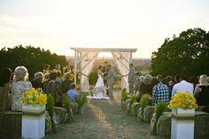 rustic, modern, vintage yellow & grey ranch wedding ~ beautiful ceremony set up