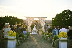 rustic, modern, vintage yellow & grey ranch wedding ~ beautiful ceremony set up