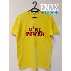 Girl Power T-shirt with Rose Print in Yellow, Baby Pink and Light Blue... (35 BGN) via Polyvore featuring shirts