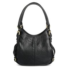 7fda9d09c5 Women s Solid Hobo Faux Leather Handbag with Buckle Detail Black - Merona