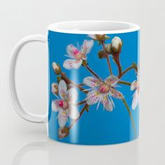 London Pride Floral Coffee Mug - Design by AngieC - (affiliate link) London Pride Flower, Glass Water Bottle, Mug Designs, Drinkware, Tumbler, Gifts For Her, Coffee Mugs, Floral Design, Cool Stuff