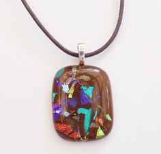 Dichroic glass pendant  chocolate brown  blue by LotsaShimmer, $20.00