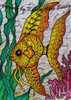 "ACEO TW JUN Original ACEO ""Angel Fish"" zentangle influenced by Karen Anne Brady"