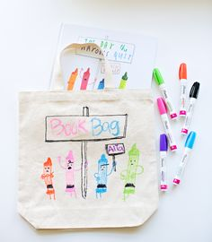 DIY LIBRARY BOOK BAG FOR KIDS FEATURING THEIR FAVORITE BOOK COVER