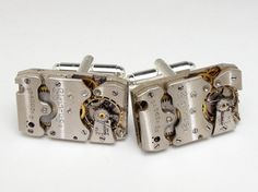 Steampunk cufflinks vintage silver Elgin by steampunknation, $79.00