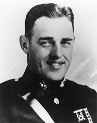 Major Kenneth Bailey, USMC - During a Japanese attack on Henderson Field, Guadalcanal, Solomon Islands, Major Bailey, despite a severe head wound, repeatedly led his troops in fierce hand-to-hand combat for a period of 10 hours. His great personal valor while exposed to constant enemy fire, and his indomitable spirit inspired his troops to repulse the enemy and hold Henderson Field. He gave his life in the service of his country. September 12-13, 1942