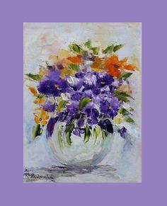 Purple Flowers Original Oil Painting Bouquet Still life Impasto Europe Artist #Impressionism