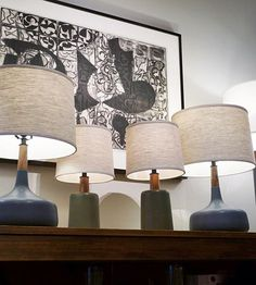 Afternoon vignette in the shop. Artwork by Glen Alps Table lamps by Open until today. Table Lamps, Alps, Vignettes, Lighting, Artwork, Shopping, Instagram, Home Decor, Style