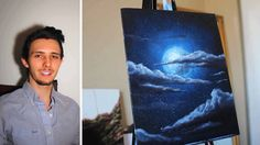How to paint a Stars, a Moon, and Clouds in a night sky. A basic speed p...