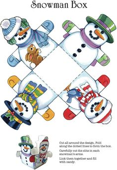 Christmas Crafts - Snowman Box From Dover Publications: Easy Christmas Crafts: 12 Holiday Cut & Mak. Christmas Paper, Christmas Crafts For Kids, Christmas Activities, Christmas Printables, Christmas Snowman, Simple Christmas, Christmas Projects, Holiday Crafts, Summer Crafts