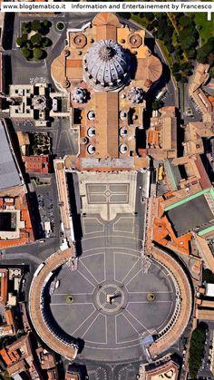 San Pietro, Basilica e Piazza - Vaticano Architecture Romaine, Voyage Rome, Rome Italy, Sorrento Italy, Capri Italy, Naples Italy, Sicily Italy, Vatican City, Birds Eye View