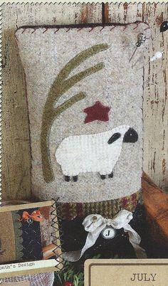 Primitive Folk Art Wool Applique Pinkeep Pattern: YEAR of the PINKEEPS - JULY Sheep