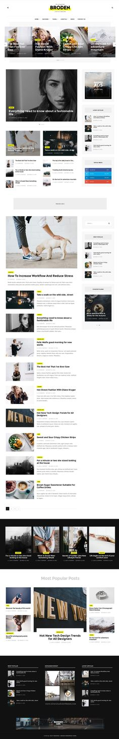 Broden is a creative WordPress theme suitable for personal blogs, magazine and newspapers. #News #Portal #website