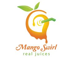 Mango Swirl Logo design - This logo design is of a mango with straw in it in a very creative and attractive style, simple and unique design in green, yellow and orange colors. This design can be useful for juice center, eatery, hotels, restaurants and more. Price $299.00