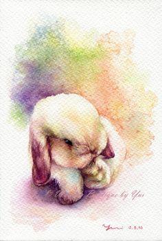 """Drucken Sie – Little Rabbit Aquarellzeichnung 7,5 x 11"""""""