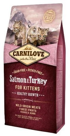 Carnilove Salmon & Turkey for Kittens 2kg. The recipe is based on salmon and turkey, sources of essential amino acids, which in combination with forests fruits, vegetables, and herbs provide essential nutrients, vitamins, minerals, and antioxidants every day for proper development of the skeleton, muscles, and natural immunity.