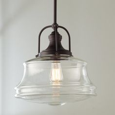 Check out Schoolhouse Bell Pendant from Shades of Light This pendant puts a new spin on schoolhouse style. Curvy clear glass shades are paired with smart details, creating a look that is great for any space. Finished in Polished Nickel or Bronze. Kitchen Lighting Fixtures, Kitchen Pendant Lighting, Kitchen Pendants, Glass Pendants, Pendant Lights, Farmhouse Kitchen Light Fixtures, Light Above Kitchen Sink, Cabinet Lighting, Ikea Hacks