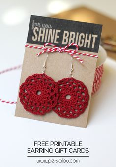 Cute printable gift tags perfect for giving handmade or store bought earrings!
