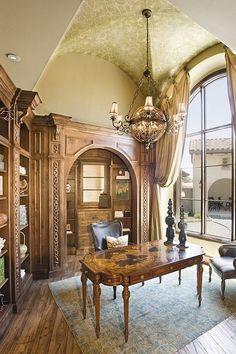Классическая обстановка домашнего офиса это отличная возможность передать все тонкости интерьера в средиземноморском стиле.
