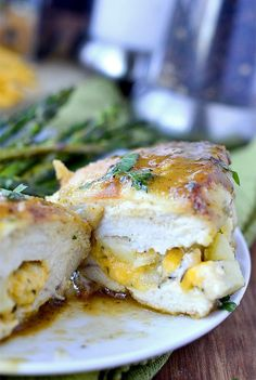 Apple-Cheddar Stuffed Chicken with Apple-Dijon Pan Sauce is a delicious, gluten-free toss-together supper using fridge and pantry staples.