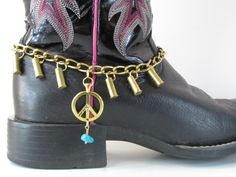 Peace Sign and bullet casings boot bracelet with 22 cal spent casings on Heavy Duty boot chain, Banging Boot Bracelets, Bullet Boot Jewelry by BangingBootBracelets on Etsy