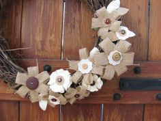 Burlap Flower with Buttons Grapevine Wreath