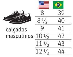 Numeração de tênis e sapato masculinos EUA x Brasil