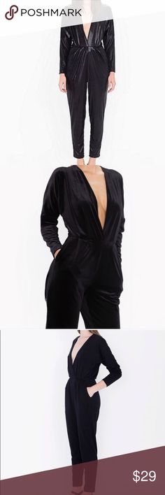 * American Apparel * Black Patent Catsuit Deep V Cut all Black as a Faux Leather look. Worn a few times in Super Condition. American Apparel Pants Jumpsuits & Rompers