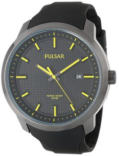 Pulsar Men's PS9101 Analog Display Japanese Quartz Black Watch. Black ion finish. Date. Hardlex crystal. Urethane strap. Water resistant to 165 feet (50 M): suitable for swimming and showering.