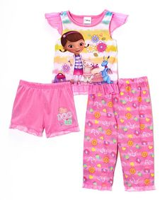 Another great find on #zulily! Pink & Yellow Doc McStuffins Pajama Set - Toddler #zulilyfinds