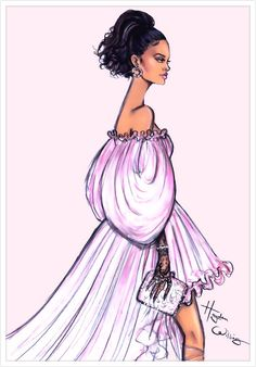 Pink Princess #Rihanna wearing #GiambattistaValli #FashionIllustrations @haydenwilliams| Be Inspirational ❥|Mz. Manerz: Being well dressed is a beautiful form of confidence, happiness & politeness