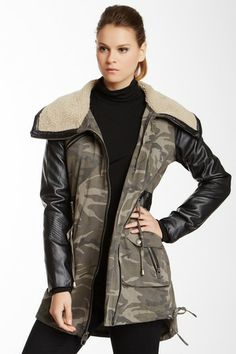 Camo Faux Leather Sleeve Coat by Miss Sixty on @HauteLook