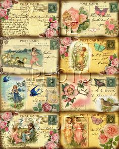 Card Sheet With Vintage Post Cards 16 label 1 5 x 2 2 Inch Vintage Labels, Vintage Ephemera, Vintage Cards, Vintage Paper, Vintage Postcards, Shabby Vintage, Vintage Images, Decoupage Vintage, Etiquette Vintage