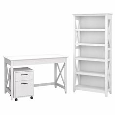 Beachcrest Home Cyra L Shaped Desk & Reviews | Wayfair 5 Shelf Bookcase, Bookshelf Desk, Desktop Organization, Home Office Organization, White Oak, Pure White, Mobile File Cabinet, Best Desk, Home Office Chairs