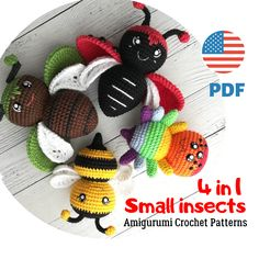 Crochet Animal Patterns, Crochet Doll Pattern, Stuffed Animal Patterns, Crochet Patterns Amigurumi, Amigurumi Toys, Pattern Cute, Small Insects, Handmade Crafts, Handmade Ideas
