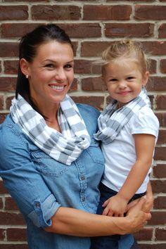 Grey and White Stripe Mother/Daughter Infinity by BundleUpBuddy, $30.00