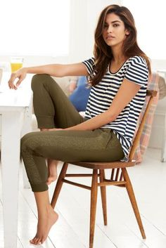 Cool khaki and stripes are the perfect combo for a casual weekend at home!