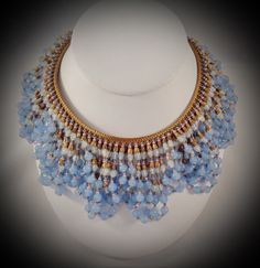 RARE Vintage Unsigned Miriam Haskell Fringe Bib Glass Bead Gold Tone Necklace | eBay