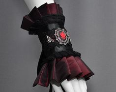 Red Victorian Cuff with Black Lace and Rose Cameo - Dark Red Fashion, Elegant…