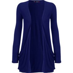 WearAll Delora Long Sleeve Pocket Cardigan ($12) ❤ liked on Polyvore featuring tops, cardigans, jackets, electric blue, pocket tops, royal blue top, blue cardigan, blue top and long sleeve cardigan