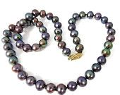 Classic PEACOCK Pearls 14k Clasp -Shades of PURPLE Green