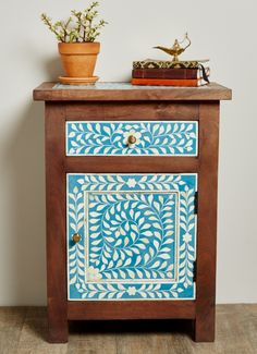 Bone Inlay Wood Bedside Dresser. #earthboundtrading #furniture #homedecor #dresser