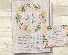 Floral Wedding Invitation Rsvp We Do Elopement Vow Renew Script Country Garden Rustic Reception Navy Pink Marsala Wreath Wood Romantic Boho