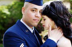 groom in military dress uniform at retro wedding @myweddingdotcom
