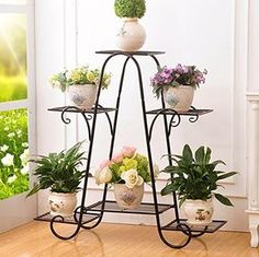Amazon.com : Metal Plant Flower Rack, Indoor Flower Pot Rack, European-style Garden Balcony Display Stand Size Color Optional ( Color : Black, Size : 69.564.5cm ) : Garden & Outdoor
