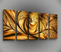 Cool gold and black swirly abstract painting idea.