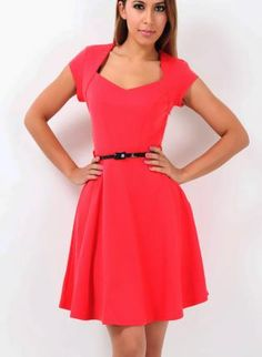 Sweetheart Neck RED skater Vintage Style Dress XS S M L XL,  Dress, Retro Dress  Workwear Vintage style, Casual